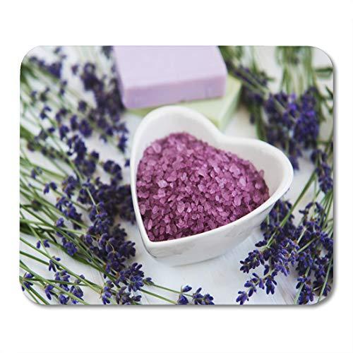 Semtomn Mouse Pad Heart Shaped Bowl Sea Salt Soap and Fresh Lavender Mousepad 9.8