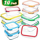 [10 Packs]Glass Food Storage Containers,MCIRCO Glass Meal Prep Containers with Lids -Airtight Glass Lunch Containers,Glass Tupperware Set
