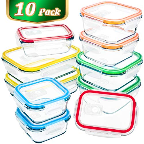 Glass Food Storage Container with Lids,MCIRCO Airtight Glass