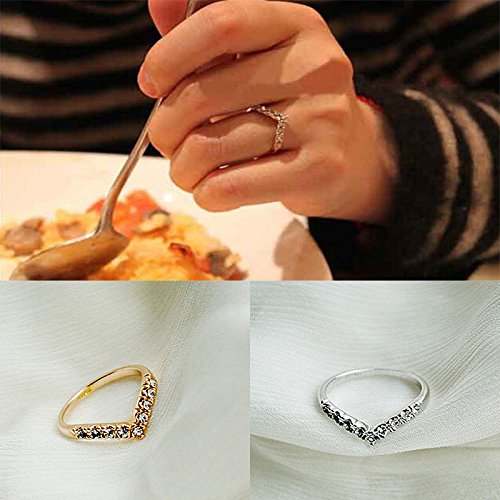 LOVE STORY New Womens Design Of The V-shaped Section Style Diamond Rings Gift nogluck (Gold)
