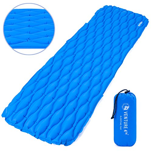 Ultralight Sleeping Pads (Ultralight Sleeping Pad by VENTURE 4TH | Lightweight, Compact, Durable, Tear Resistant, Supportive and Comfy | For Camping , Traveling , Lounging , Sleeping Bags , Hammocks , Hiking and More | Blue)