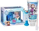 Disney Frozen Elsa Inspired 4pc Sparkling Smile Oral Hygiene Gift Set! Includes Toothbrush Holder, Toothbrush, Toothpaste & Rinse Cup! Plus Bonus Frozen Resuable Drawstring Tote Gift Bag!