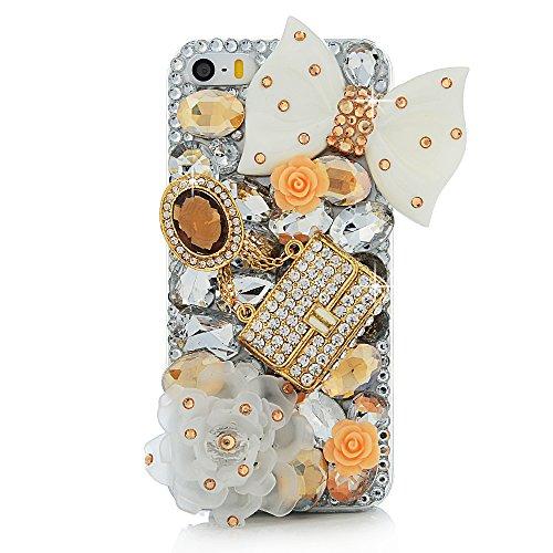 Mavis's Diary for iPhone 5S Case,iPhone SE Case,iPhone 5 Case,3D Handmade Bling Crystal Lovely White Bow Golden Bag Orange Flowers Shiny Sparkle Diamond Gems Design Hard Clear Cover for Iphone SE 5S 5]()