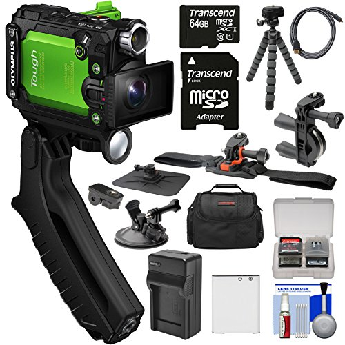 Olympus Tough TG-Tracker UHD 4K Wi-Fi GPS Shock Waterproof Video Camera Camcorder (Green) with Steady Grip + 64GB Card + Battery + Charger + Action Mounts + Case + Tripod + Kit