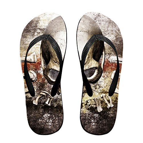Women Rose Skull Funny Sandals Thong Flops Red bigqiqi Risen5 Mat Sandy Flip Flat for Slipper wxOXCEqd