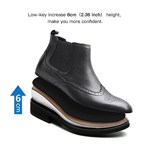 Chamaripa Menns Myk Skinn Chelsea Boots Heis Sko Gjøre Deg Høyere 2,36 Inches H72b25k051d Svart