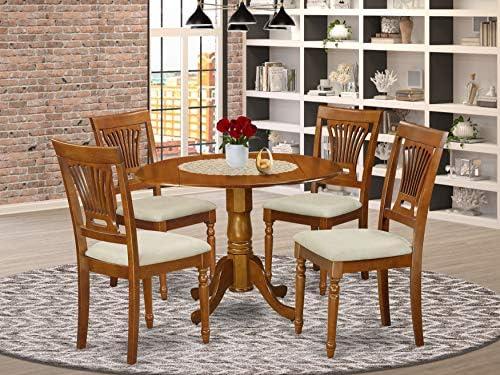 DLPL5-SBR-C 5 PC Kitchen nook Dining set-round Table plus 4 dinette Chairs