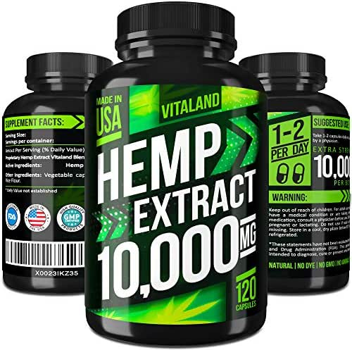 Hemp Oil Capsules 10000MG - 83.3 MG per Capsule - Made in USA - Efficient Pain, Stress & Anxiety Relief - 100% Premium Hemp Oil - Anti Inflammatory - Sleep & Mood Support - Ideal Omega 3, 6, 9 Source