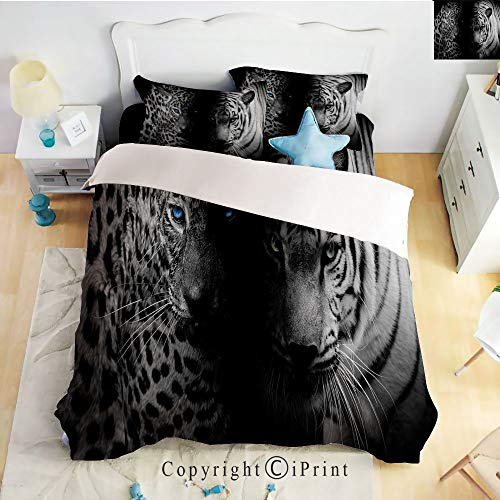 (Homenon Classic Sheets 4 Piece Bed Sheet Set,Leopards Blue Eyes Aggressive Powerful Wildcat Profile,Black White Blue,Twin Size,Softest Bed Sheets and Pillow Cases)