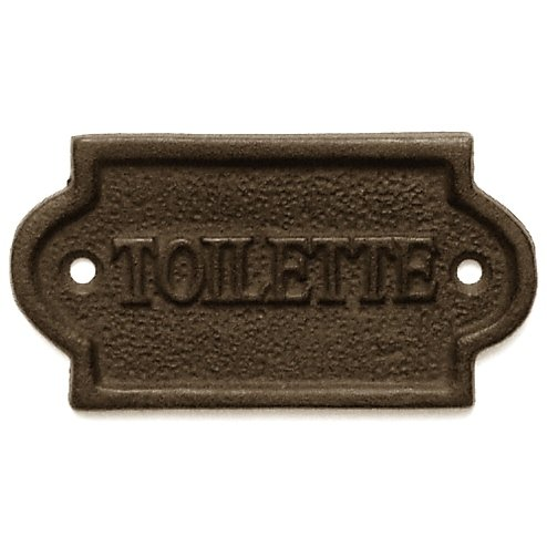 Abbott Collection -  French Bathroom Door Toilette Sign/Plaque- Brown Cast -