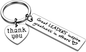 Boss Appreciation Gift Thank You Keychain for Supervisor Mentor Boss Lady Boss Day Christmas Birthday Retirement Gift from Coworker Colleague Leaving Moving- Great Leaders Inspire Greatness in Others
