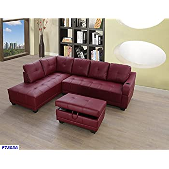 Beverly Fine Funiture CT7303A Sectional Sofa Set Burgundy