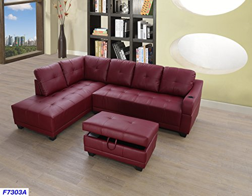 Beverly Fine Funiture CT7303A Sectional Sofa Set, Burgundy