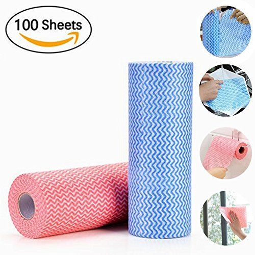 Kitchen Cleaning Supplies Kitchen Rag Reusable Cleaning Wipes Cloths, Multipurpose Non Woven Fabric OTP Disposable Cleaning Towel Dish Cloth (2 Roll Of 100Pcs) Dish Towels Kitchen Paper - Reusable Cloths Wiping Cotton Rags
