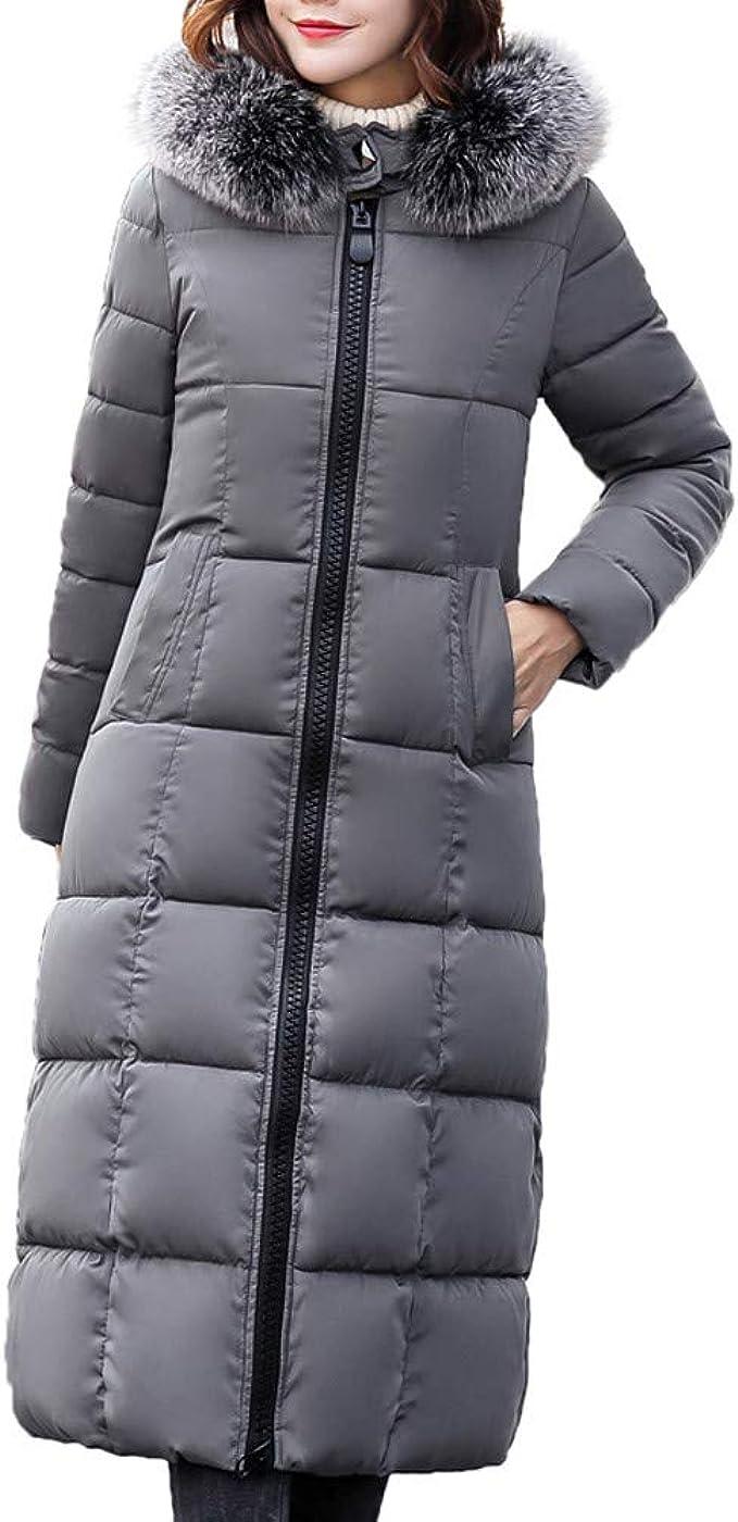 Lange Daunenjacke Damen Pelz mit Kapuze Lange Mäntel Frauen