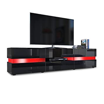 TV Unit Cabinet Flow, Carcass in Black High Gloss / Front in Black ...
