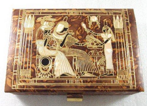 Jewelry Box LG Trinket Egyptian hand made Genuine Leather Horus - Osiris Pharaoh 221