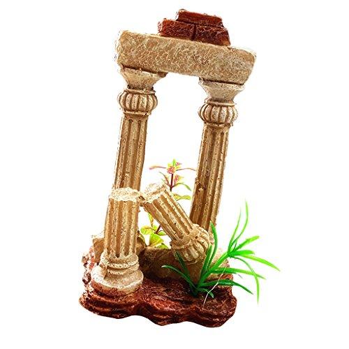 MonkeyJack Artificial Aquarium Collapsed Stone Pillar Column Statue Fish Tank Decorative Ornaments - Yellow, 10.5x10x18.7 cm