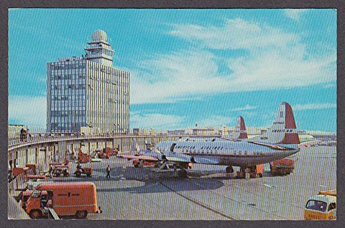 Electra American Airlines - American Airlines Electra Logan International Airport Boston MA postcard 1950s