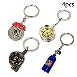 ISPEEDY 4PCS Mini Keychain/Key ring Set- Tire wheel,Turbo,Brake Rotor, NOS Mini Nitrous Oxide Bottle Keychain