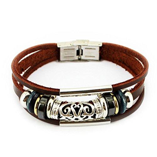 Vicheer Unisex Adjustable Buckle Charm Bracelets Steel Clasp Leather Wrap Bracelets 005