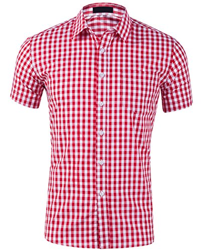 Frontier Fashion Men's Casual Cotton Short Sleeve Plaid Western Button Down Dress Shirts ac119-01-s -