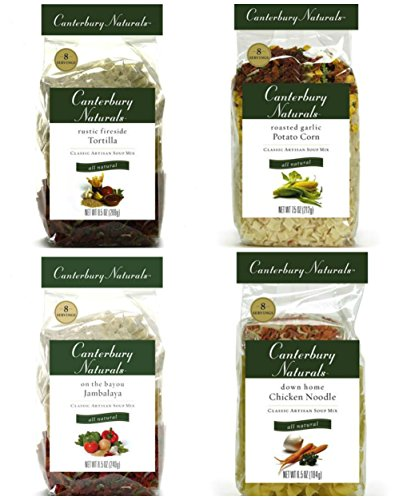 Canterbury Naturals Bestsellers Bundle (4 Pack): Down Home Chicken Noodle, Roasted Garlic Potato Corn, Rustic Fireside Tortilla, and On the Bayou Jambalaya
