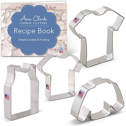 Sport Jerseys/Shirts Cookie Cutters Set with Recipe Booklet - 4 piece - Small & Large T Shirt, Sleeveless Shirt & Sweater - Ann Clark - Tin Plated Steel