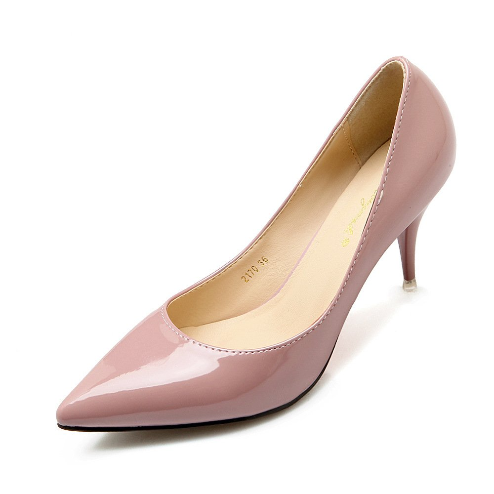 The Korean version of the single shoe white-collar high-heel shoes black Korean single shoes fine with night work paint bare skin color, bare-color 35