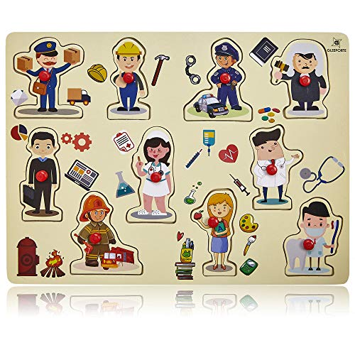 Wooden Peg Puzzle, Profession Theme - Learning Educational Pegged Puzzle for Toddler & Kids (10 pcs) Gleeporte