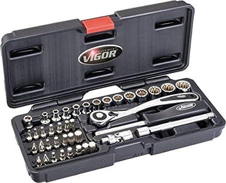 Vigor Multi Perfil ranuras Juego de llaves, accionamiento cuadrado interior 6,3mm de 1/4pulgadas, 1pieza, v4217