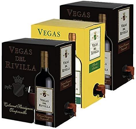 Bag in Box Vino 2 Cajas de 5 litros de Vino tinto y 1 caja de 5 litros de vino blanco Extremeño de Vegas del Rivilla: Amazon.es: Alimentación y bebidas