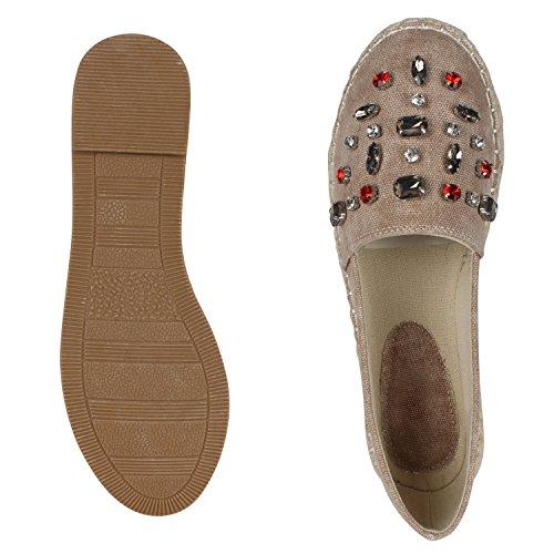 Japado Komfortable Damen Espadrilles Bequeme Slipper Funkelnde Glitzerapplikationen Modische Sommer Schuhe Gr. 36-41 Stone Steine