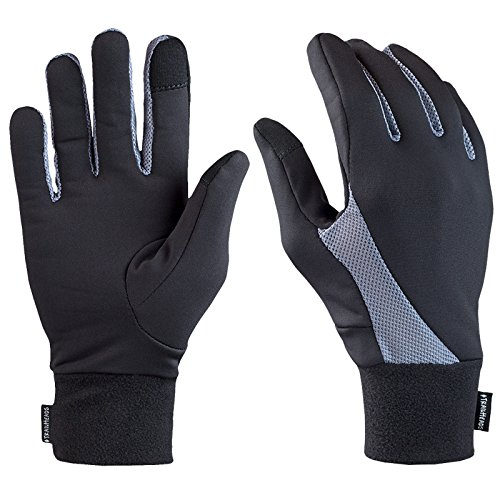 TrailHeads Elements Touchscreen Running Gloves - black/grey (Lightweight Running Gloves)