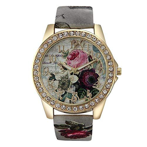 Price comparison product image Hessimy Womens Fashion Watches New Ladies Business Bracelet Watch Luxury Crystal Sport Casual Leather Band Retro Floral Print Digital Analog Quartz Wrist Watches for Women On Sale