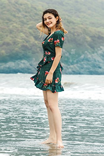 Top Sexy V Neck Sleeve Women Dress Casual Tunic Floral Print Deep landi Vaniglia Mini 13 qnRwzIpYw