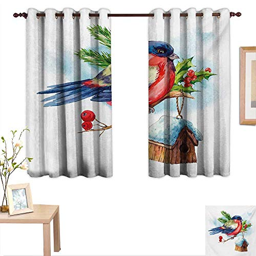 Rowan Drapes for Living Room Merry Christmas Composition with Cute Bullfinch Holly Pine Cone Bird House in Winter 55