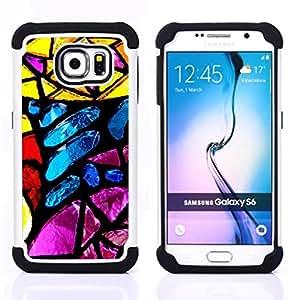 For Samsung Galaxy S6 G9200 - Stained Glass Yellow Blue Sun Colorful /[Hybrid 3 en 1 Impacto resistente a prueba de golpes de protecci????n] de silicona y pl????stico Def/ - Super Marley Shop -