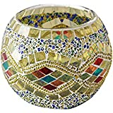 Kobwa(TM) Mosaic Glass Votive Candle Holder Table Decoration Centerpiece (Yellow) with Kobwa's Keyring