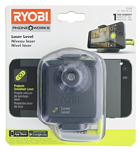 Ryobi ES1600 Phone Works Crosshair Laser Level with App Download and Tripod Clip (Tripod and Cell Phone Not Included) by Ryobi