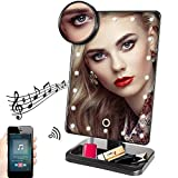 Hansong Makeup Mirror with Lights -20 LED Lights Cosmetic Mirror with USB Chargeable,Wireless Audio Speakers,Detachable 10X Magnifying Mirror,180° Rotation Vanity Mirror with Lights (Black)