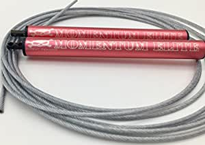 Momentum Elite Speed Rope for Workout Exercise - Easily adjustable, 10 Foot Length Bare Cable Jump Rope for Customized Fit, Smooth spinning, Faster, Anti-friction Nylon Bearings, (Pink, Regular)