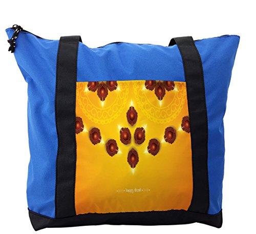 Lunarable Diwali Shoulder Bag, Oriental Tribal Arrangement, Durable with Zipper by Lunarable