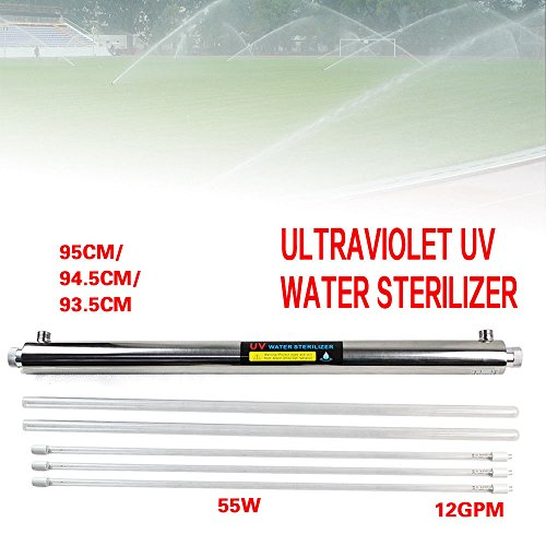 Ultraviolet Light Water Purifier,UV Water Purifier Whole House Ultraviolet Light Sterilizer 12 GPM for Bacteria (with 3 x 55W UV Lamps) ()