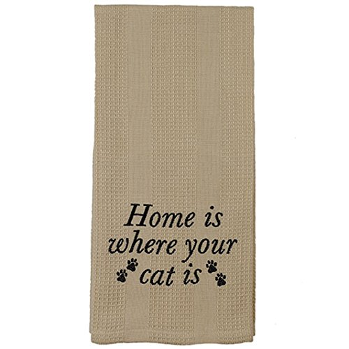 Beige Home is Where Your Cat Is Paw Prints 19 x 28 Inch Embroidered Cotton Waffle Dish Towel