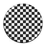 ART TANG Race Waving Checkered Flag Area Rug Resist Fading Carpet Non-slip Round Floor Mat Study Room Floor Mat (24 Inch Round) Review