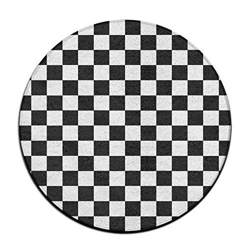 ART TANG Race Waving Checkered Flag Area Rug Resist Fading Carpet Non-slip Round Floor Mat Study Room Floor Mat (24 Inch Round)