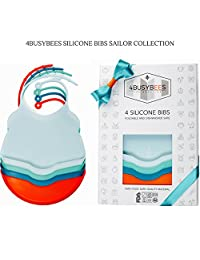 Pack of 4 Silicone Baby Bibs SAILOR Collection! Baby Boys Bibs - Best Baby Boy Gifts, Bibs for Newborns & Baby Boys - 100% Food Grade Drool Silicone Bibs, Waterproof, Dishwasher Safe Wipeable, Soft