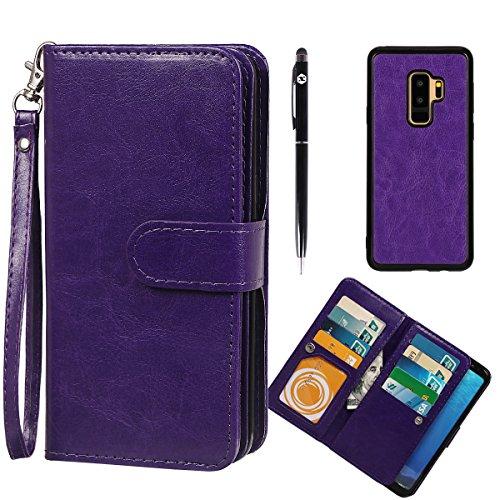xhorizon FLK Premium Leather Folio Case Wallet Magnetic Detachable Removable Wristlet Purse Soft Multiple Card Slots Cover for Samsung Galaxy S9 Plus with a Bonus - 2 in 1 Stylus (Purple)