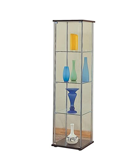 Coaster Modern Contemporary Glass Curio Cabinet With Cappuccino Top And  Bottom